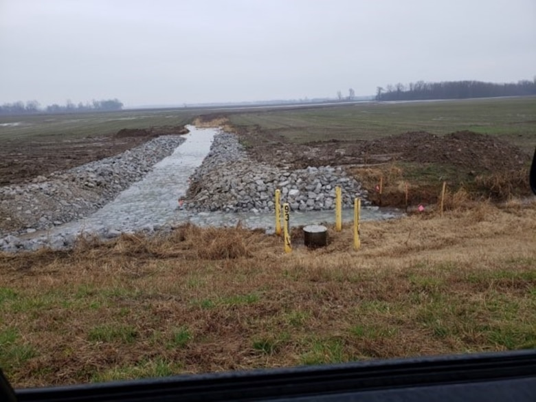 IN THE PHOTO, finished Lake No. 9 Collector Ditch Erosion Repair Project site.