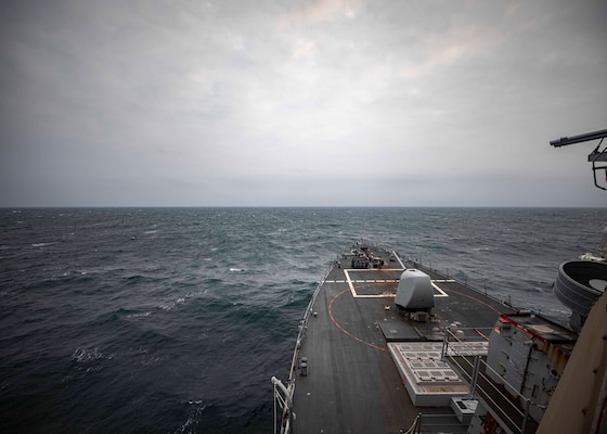 USS John S. McCain (DDG 56) transits the Taiwan Strait during routine underway operations.