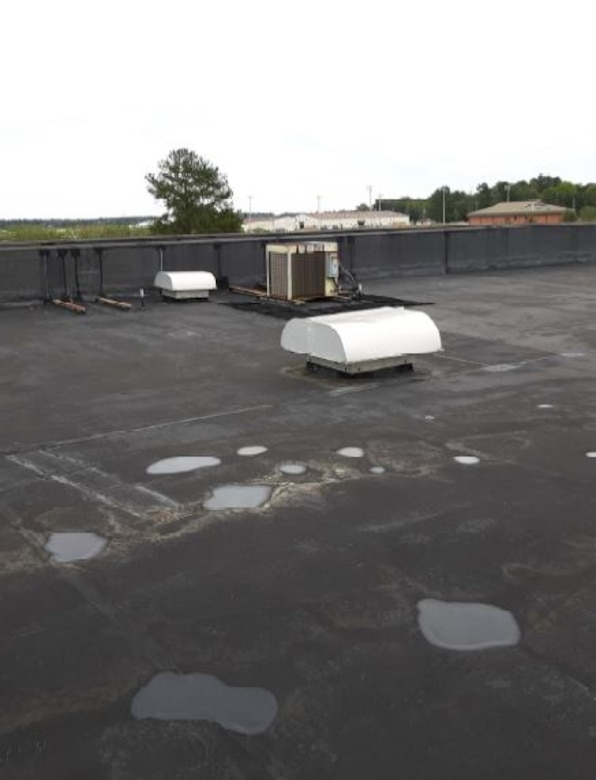 The prior roof was replaced because of water leaking through the roof into the Base Exchange. CYE Enterprises was awarded a contract to replace the roof. (Courtesy photo)