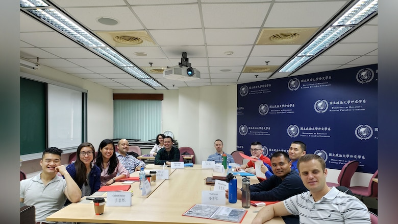 Language Enabled Airman Program scholars participate in a 2019 Area Studies Immersion program in Taiwan. The three-week ASI enhanced the Chinese Mandarin language proficiency and regional expertise of 10 officer and enlisted LEAP scholars. This course is now reflected on an automated transcript and recorded in each service member's system of record. (Photo courtesy of LEAP.)