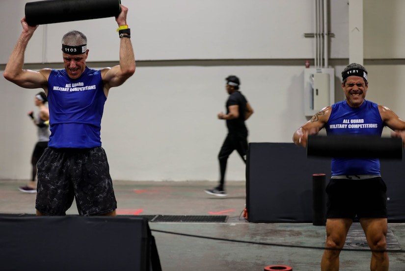 Soldiers from the Virginia National Guard compete in the All Guard DEKA FIT competition March 27, 2021, in Dallas, Texas.(US Army Photo by SGT Jesse Elbouab, 133rd MPAD)