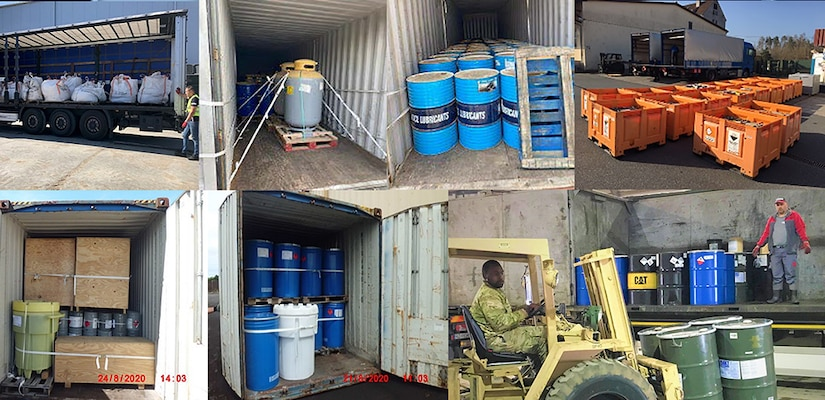Various images of barrels, drums and boxes of hazardous waste packaged for removal from U.S. bases.