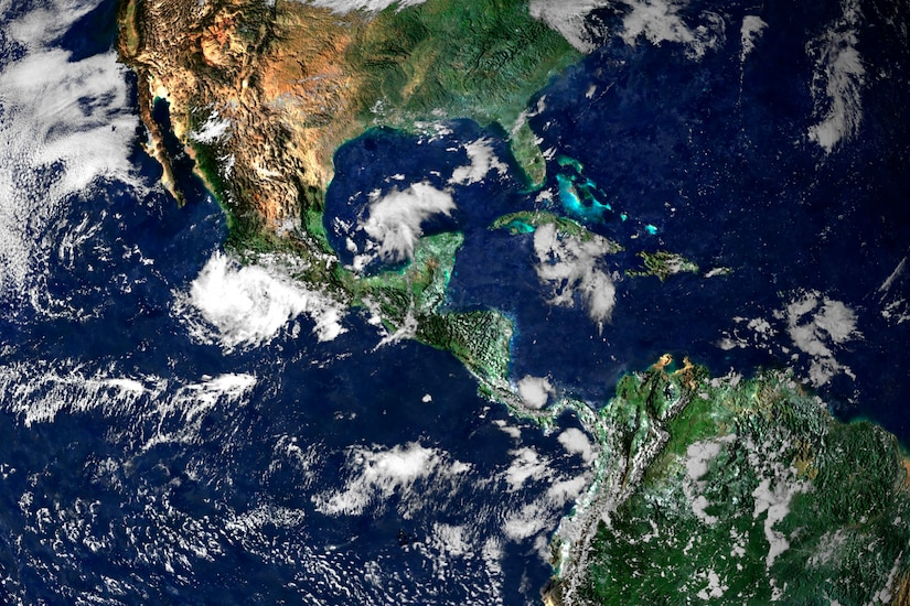 Satellite imagery of parts of North and South American and Central America.