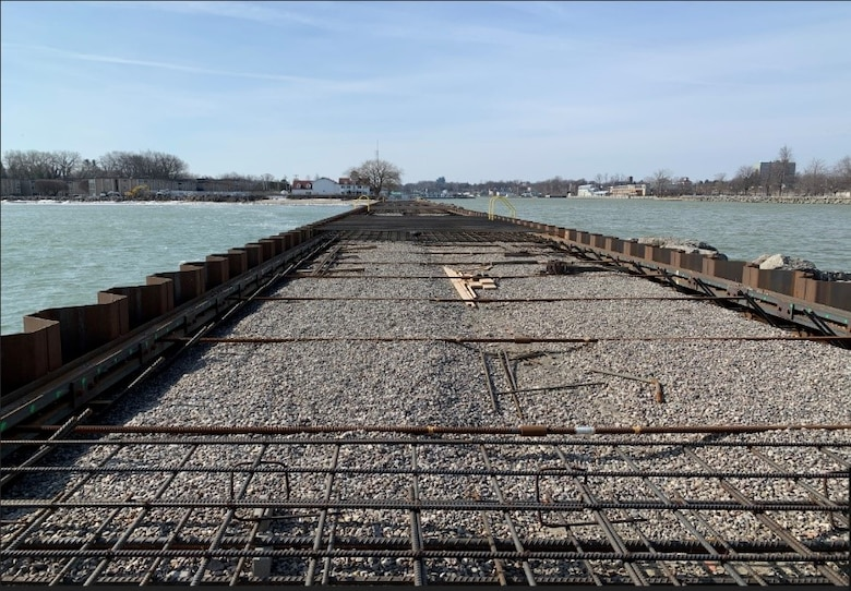 The U.S. Army Corps of Engineers, Buffalo District, and its contractor, Dean Marine & Excavating, Inc., are scheduled to resume repairs of the Rochester Harbor east pier, located in Rochester, New York, in April 2021.