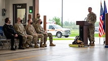 Lt. Col. Christopher Carnduff, 2nd Civil Engineer Squadron commander, addresses attendees of the ribbon cutting ceremony for Fire Station Two at Barksdale Air Force Base, Louisiana, April 7, 2021.
