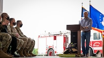 Darin Bailey, Naval Facilities Engineering Systems Command resident engineer, addresses attendees of the ribbon cutting ceremony for Fire Station Two at Barksdale Air Force Base, Louisiana, April 7, 2021.