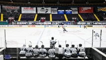 The Barksdale Bombers hockey team competes for the Mudbug Adult Hockey League championship at Hirsch Memorial Coliseum in Shreveport, Louisiana, March 31, 2021.