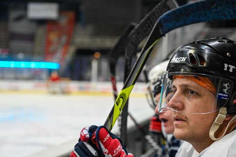 Maj. Jeffrey Sovern, Barksdale Bombers hockey team member, watches his team compete for the Mudbug Adult Hockey League championship at Hirsch Memorial Coliseum in Shreveport, Louisiana, March 31, 2021.