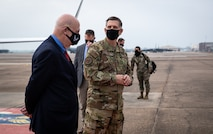 Honorable John P. Roth, acting Secretary of the Air Force, meets Gen. Tim Ray, Air Force Global Strike Command commander, at Barksdale Air Force Base, Louisiana, April 6, 2021.