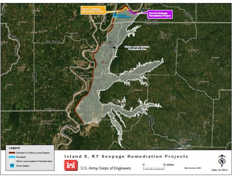 IN THE PHOTO, a map showing the Obion Levee System protected area once all projects are executed.