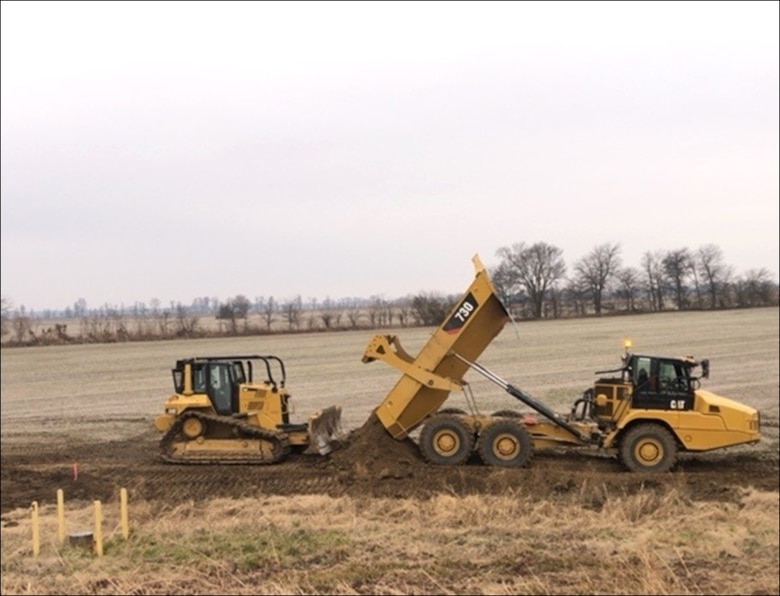 IN THE PHOTO,  work being done for the Island 8 Parcel 1 Project along the Mississippi River Mainline Levee south of Hickman, Kentucky is scheduled to be complete in early April.