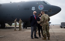 Rep. Mike Johnson, 4th Congressional District of Louisiana congressman, and Honorable John P. Roth, acting Secretary of the Air Force, are briefed by Chief Master Sgt. Brent T. Chadick, 2nd Bomb Wing command chief, during a tour at Barksdale Air Force Base, Louisiana, April 6, 2021.