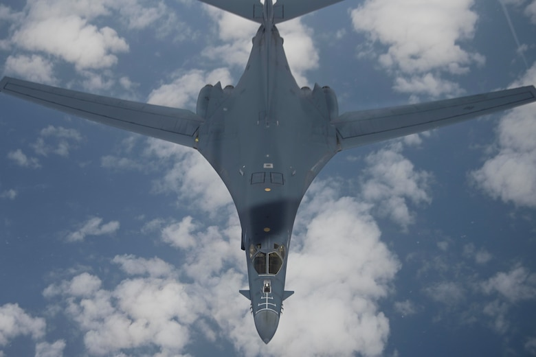A U.S. Air Force B-1B Lancer aircraft assigned to the 28th Bomb Wing departs from a KC-135 Stratotanker aircraft assigned to the 100th Air Refueling Wing after receiving fuel during a Bomber Task Force mission over the Mediterranean Sea, April 7, 2021. U.S. bomber aircraft contribute to European regional security with the support of U.S. Air Forces in Europe and Air Forces Africa's only permanent air refueling wing. (U.S. Air Force photo by Senior Airman Joseph Barron)