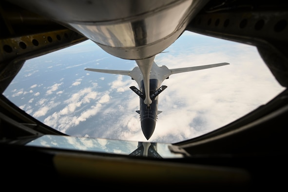 A U.S. Air Force B-1B Lancer aircraft assigned to the 28th Bomb Wing receives fuel from a KC-135 Stratotanker aircraft assigned to the 100th Air Refueling Wing during a Bomber Task Force mission over the Mediterranean Sea, April 7, 2021. The U.S. routinely and visibly demonstrates commitment to allies and partners through the global employment of its military forces. (U.S. Air Force photo by Senior Airman Joseph Barron)