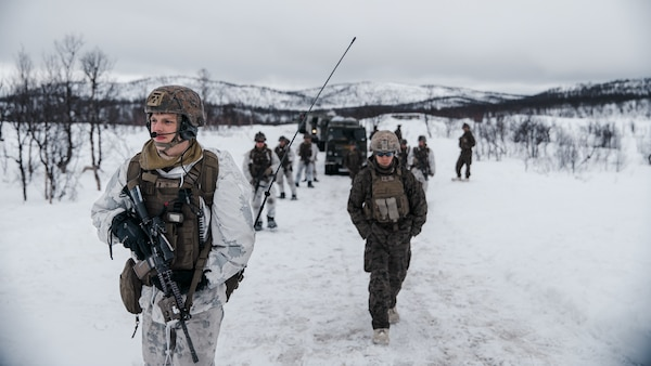 U.S. Marines conduct a combat patrol as part of Exercise Arctic Littoral Strike in Blåtind, Norway, March 30.