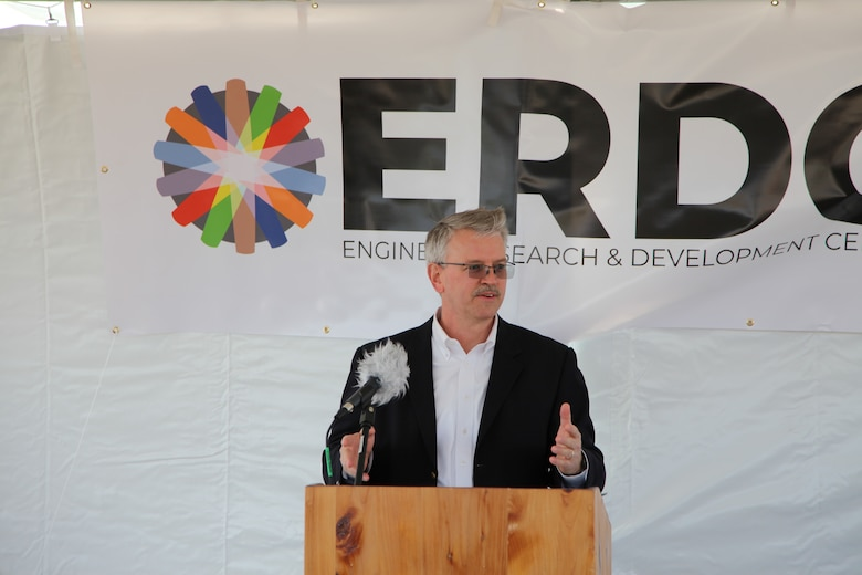Dr. David Pittman, director of the U.S. Army Engineer Research and Development Center, spoke on the importance and value of the U.S. Army Corps of Engineer's Field Research Facility in Duck, North Carolina, at a groundbreaking ceremony for the facility's new annex building, April 6, 2021. The $4.3-million annex will consist of laboratory and research administrative spaces to support the organization's expanded military research mission. (U.S. Army Corps of Engineers photo by Sheree Perry, Norfolk District)