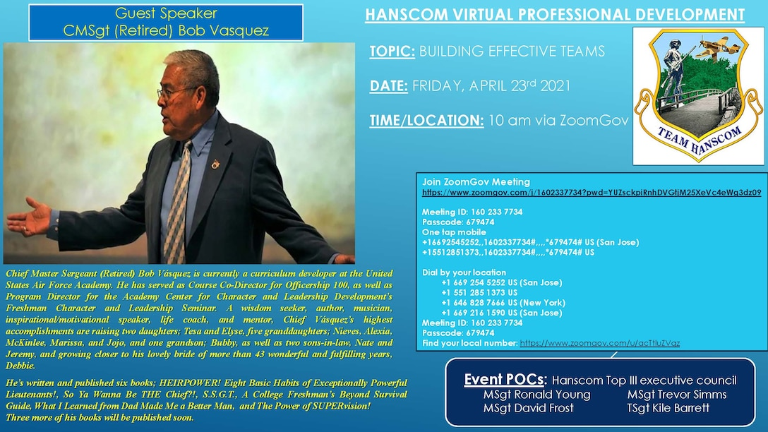 Retired Chief Master Sgt. Bob Vásquez will speak to members of the Hanscom Air Force Base, Mass., workforce during a virtual professional development event via Zoom April 23. (Courtesy Graphic)