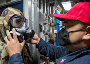 USS Tulsa (LCS 16) holds a chemical, biological and radiological drill.