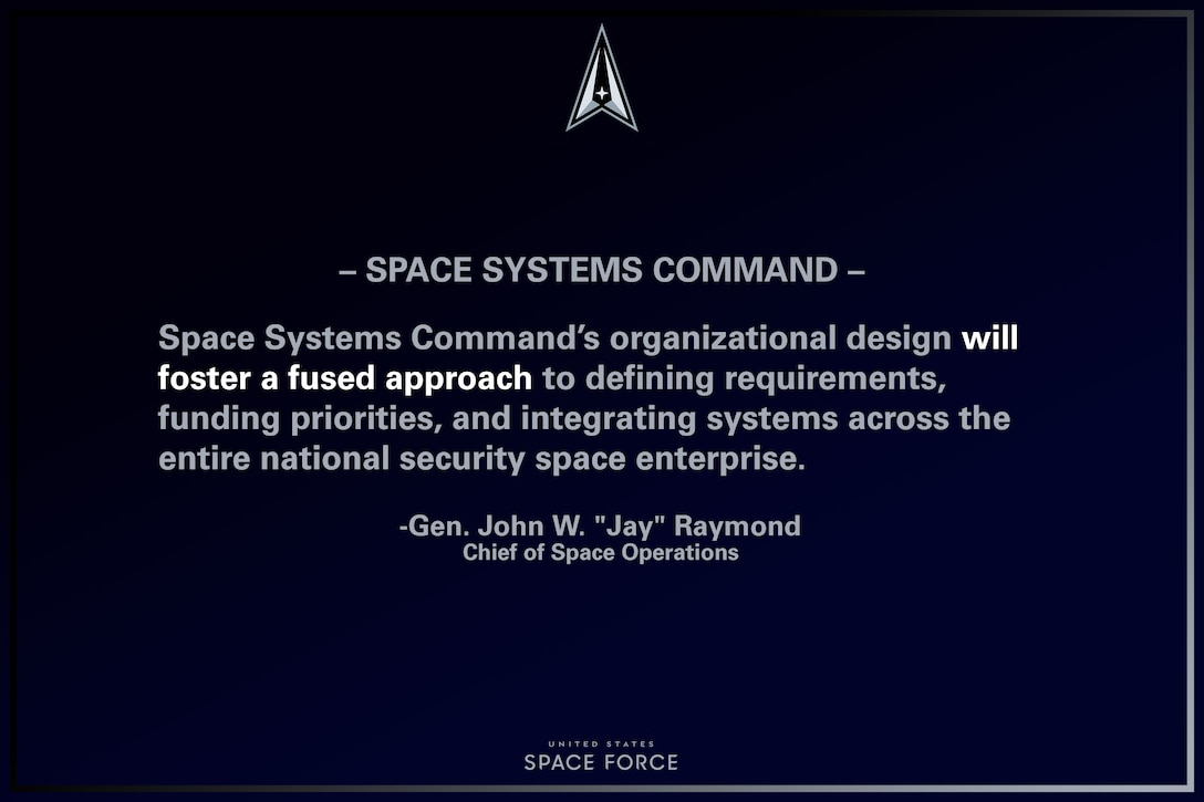 """U.S. Space Force Chief of Space Operations, Gen. John W. """"Jay"""" Raymond provided remarks on the standing-up of the Space Systems Command, Apr. 8, 2021, Los Angeles AFB, California. (U.S. Air Force graphic by Staff Sgt. James Richardson)"""
