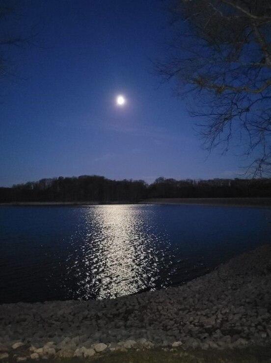 Moonlight over Patoka Lake