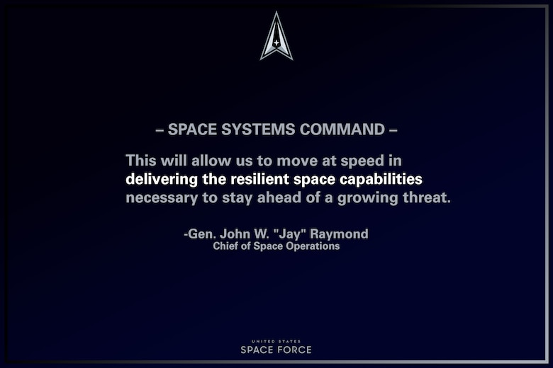 """U.S. Space Force Chief of Space Operations, Gen. John W. """"Jay"""" Raymond provides remarks on the standing-up of the Space Systems Command, Apr. 8, 2021, Los Angeles AFB, California. (U.S. Air Force graphic by Staff Sgt. James Richardson)"""