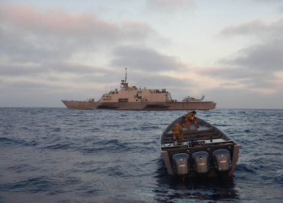 Freedom-variant littoral combat ship USS Freedom (LCS 1) with embarked U.S. Coast Guard Law Enforcement Detachment 107 seized an estimated 1,575 kilograms of suspected cocaine, April 7.