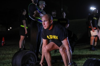 """U.S. Army Reserve Staff Sgt. Jonathon Chacon, a Civil Affairs Specialist with the 426th  Civil Affairs Battalion, Upland, Calif., centers himself with proper form prior to executing the deadlift event of the Army Combat Fitness Test (ACFT) conducted at Ft. Jackson, S.C. Chacon is competing for the title """"NCO of the Year"""" in the 2021 U.S. Army Civil Affairs and Psychological Operations Command (Airborne) Best Warrior Competition April 8 - 11, 2021. The USACAPOC(A) BWC is an annual competition that brings Soldiers from across the command to compete for the title of """"Best Warrior."""" BWC is designed to test each Soldiers' mental and physical resilience as they adapt and overcome each scenario or task placed before them."""