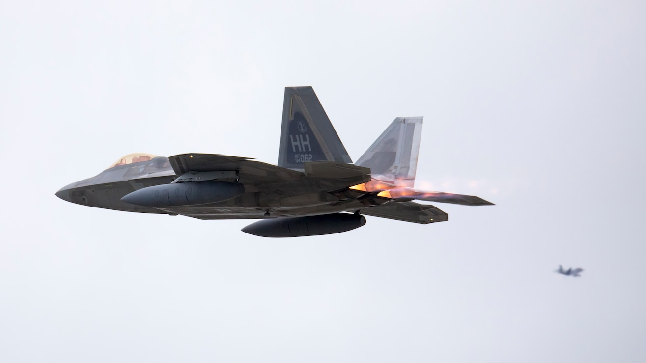 A U.S. Air Force F-22 Raptor aircraft takes off from Marine Corps Air Station Iwakuni, Japan, April 5.