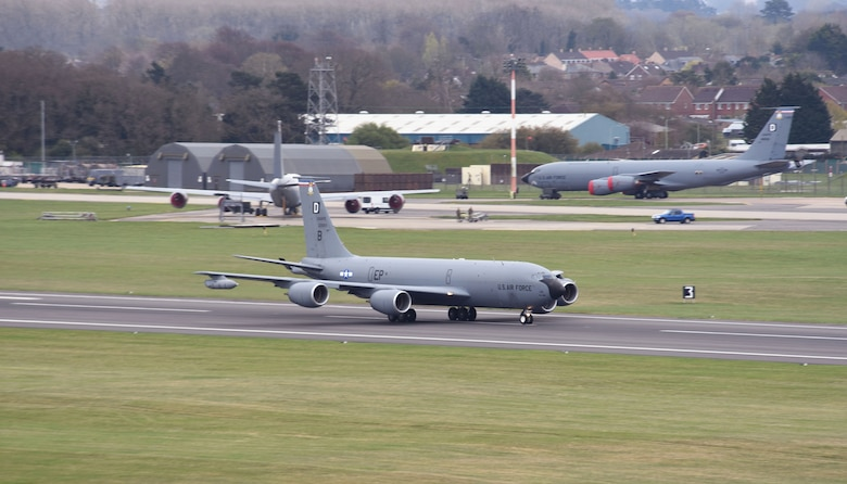 A U.S. Air Force KC-135 Stratotanker assigned to the 100th Air Refueling Wing takes off as it heads out to support exercise INIOCHOS 21 at Royal Air Force Mildenhall, England, April 9, 2021. The event is a Hellenic air force-sponsored operational and tactical-level field training exercise, hosted by the Hellenic Air Tactics Center, Andravida Air Base, Greece. The exercise aims to enhance combat readiness and fighting capability, while providing participants the opportunity to develop capabilities planning and conduct complex operations in a multinational, joint-force environment. (U.S. Air Force photo by Karen Abeyasekere)