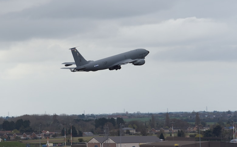 A U.S. Air Force KC-135 Stratotanker assigned to the 100th Air Refueling Wing takes off as it heads out to support exercise INIOCHOS 21 at Royal Air Force Mildenhall, England, April 9, 2021. The event is a Hellenic air force-sponsored operational and tactical-level field training exercise, hosted by the Hellenic Air Tactics Center, Andravida Air Base, Greece. In addition to U.S. and Greek participants, Canada, Cyprus, Israel, Slovenia, Spain and the United Arab Emirates are scheduled to support. (U.S. Air Force photo by Karen Abeyasekere)