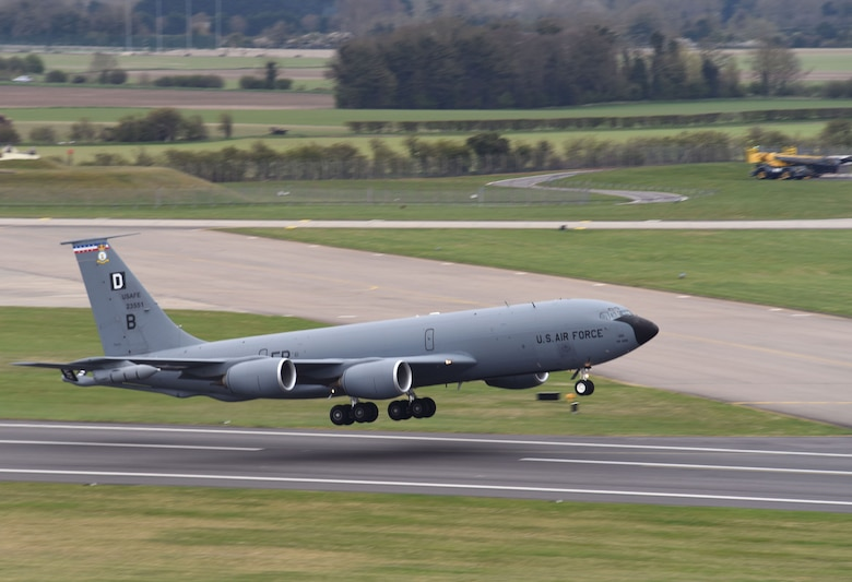 A U.S. Air Force KC-135 Stratotanker assigned to the 100th Air Refueling Wing takes off as it heads out to support exercise INIOCHOS 21 at Royal Air Force Mildenhall, England, April 9, 2021. The event is a Hellenic air force-sponsored operational and tactical-level field training exercise, hosted by the Hellenic Air Tactics Center, Andravida Air Base, Greece. Participation in multinational exercises such as INIOCHOS 21 enhances our professional relationships and improves overall coordination with allies and partner militaries during times of crisis. (U.S. Air Force photo by Karen Abeyasekere)