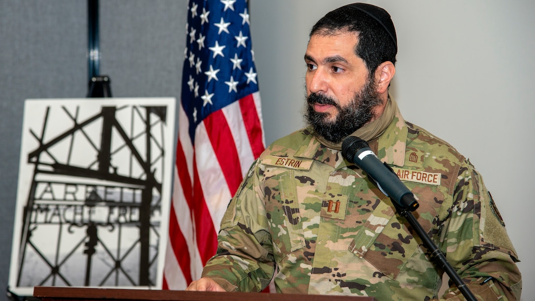 U.S. Air Force Chaplain (Capt.) Elimelach Estrin, 6th Air Refueling Wing Rabbi, delivers opening remarks during a Holocaust Memorial at MacDill Air Force Base, Fla., April 8, 2021.