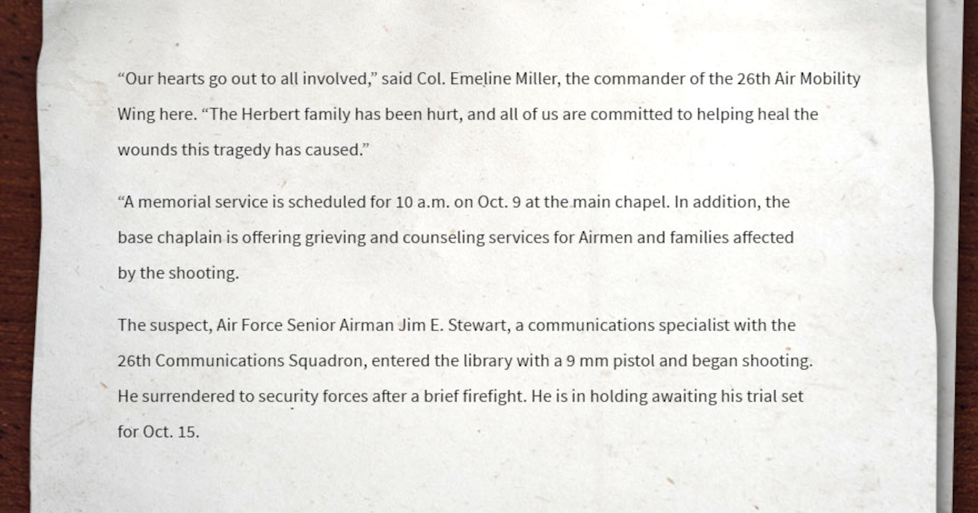 Image of miscellaneous text that provides a quote from the commander, the day and time of the memorial service and information on the suspect.