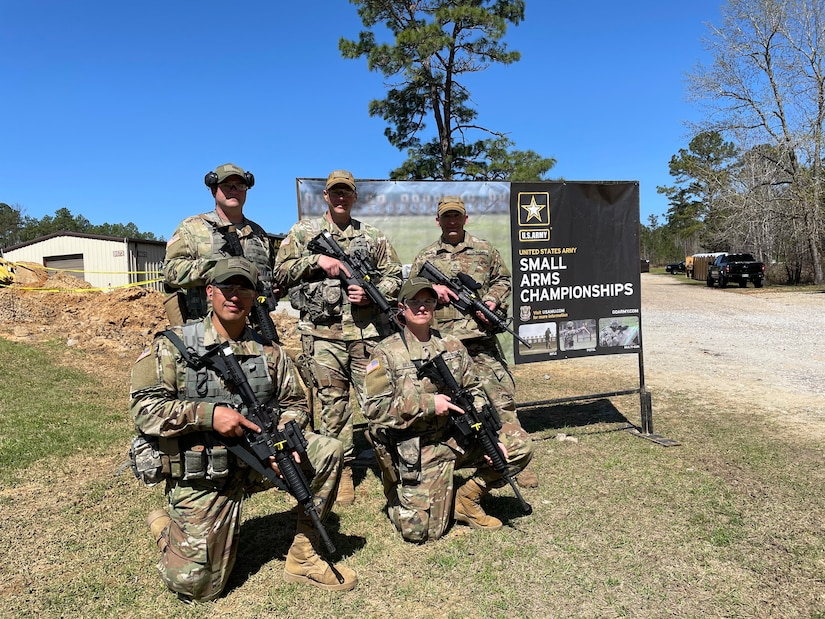 Using local events and resources, the 3-335th TSBn  (85th Reserve Support Command) has prepared multiple teams for national-level military competition. Team Blackhawk: Front row, from left: SSG Prado, SSG Belot. Back row, from left: SSG Eisen, 1SG Brunet, SFC Rosendorn.