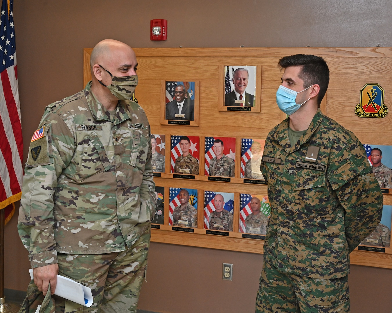 Brig. Gen. Adam Flasch, left, director of the joint staff for the Maryland National Guard, speaks with 2nd Lt. Adis Poško, Armed Forces of Bosnia-Herzegovina, at the Army Maneuver Center of Excellence at Fort Benning Army Base in Columbus, Ga., April 1, 2021. Flasch was visiting members of the Maryland National Guard and state partners from the Armed Forces of Bosnia-Herzegovina.