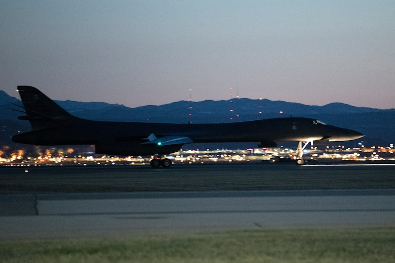 A B-1B Lancer taxis down the runway at Ellsworth Air Force Base, S.D., after completing a Bomber Task Force mission, April 7, 2021.