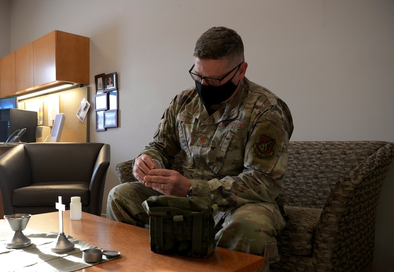 U.S. Air Force Chaplain (Maj.) Jeffery Scott, the 354th Fighter Wing (FW) deputy wing chaplain, packs a deployment kit during Arctic Gold 21-2 April 8, 2021, on Eielson Air Force Base, Alaska. During AG 21-2, Airmen will be practicing Agile Combat Employment capabilities which will allow them to work dislocated operations and still be able to generate F-35A Lightning II aircraft. (U.S. Air Force photo by Senior Airman Beaux Hebert)