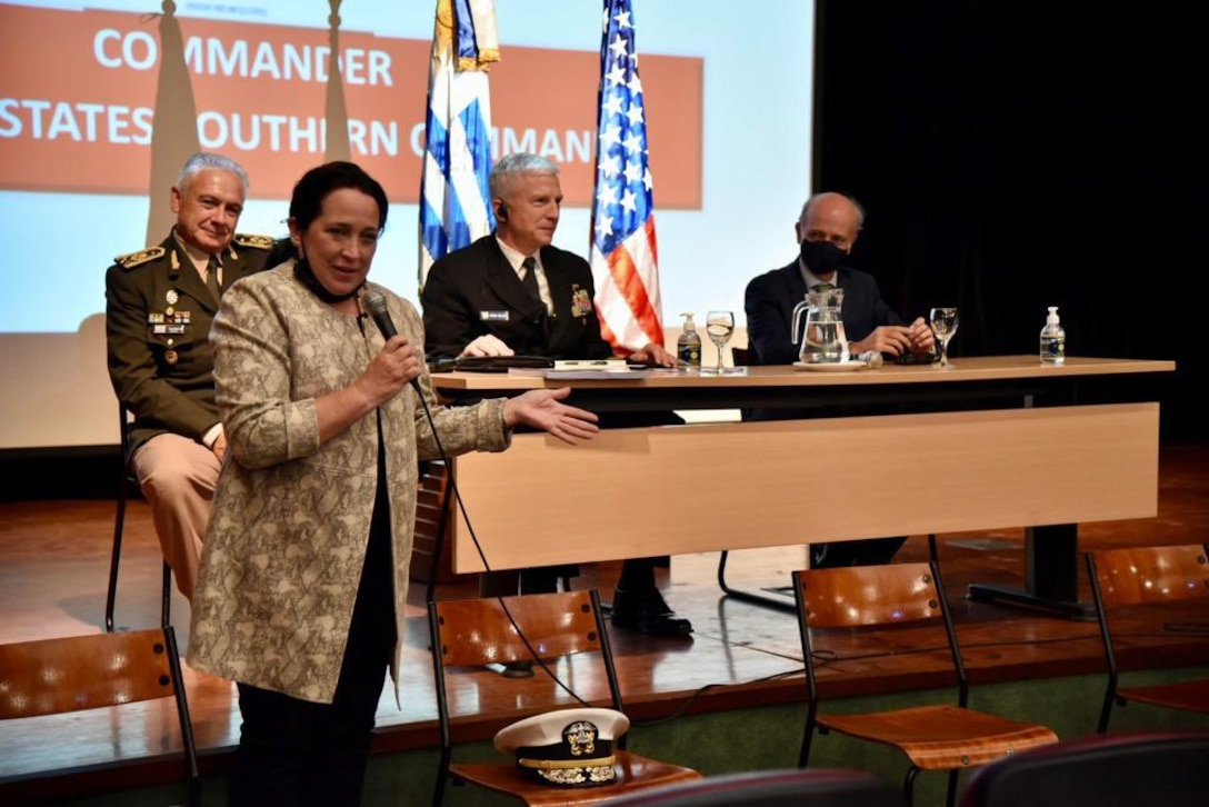 .S. Southern Command's Civilian Deputy to the Commander, Amb. Jean Manes, speaks during a roundtable discussion with Uruguayan military personnel who have received training in the United States.