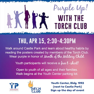 The Torch Club at Hanscom Air Force Base, Mass., will host a community walk through Castle Park to promote healthy living habits, April 15.