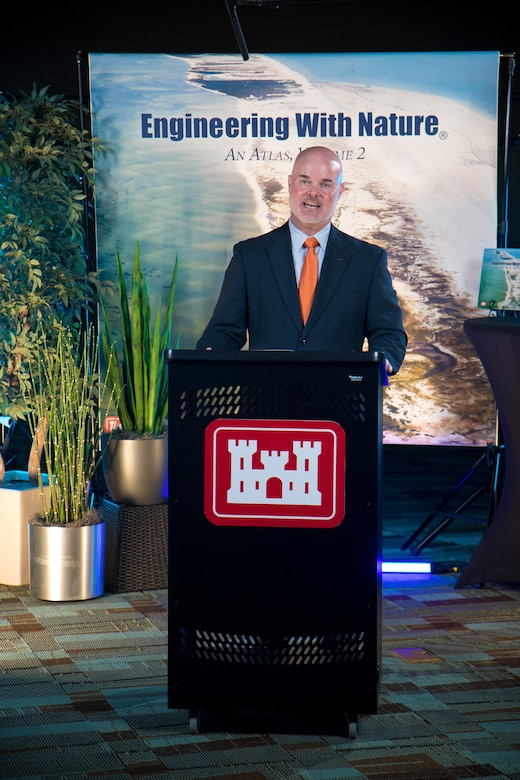 Dr. Todd Bridges, national lead of the U.S. Army Corps of Engineers Engineering With Nature (EWN) program, opens the virtual international Book Launch Event at the U.S. Army Engineer Research and Development Center in Vicksburg, Mississippi, April 7, 2021, by welcoming virtual attendees. The event celebrated the release of Engineering With Nature, an Atlas, Volume 2, with the public, and included speakers from a range of U.S. and overseas partner organizations conveying a shared goal for expanding EWN practices globally through collaboration.