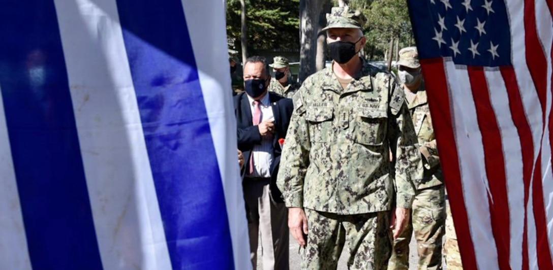 U.S. Southern Command's commander, Navy Adm. Craig Faller, at a Uruguayan military facility.