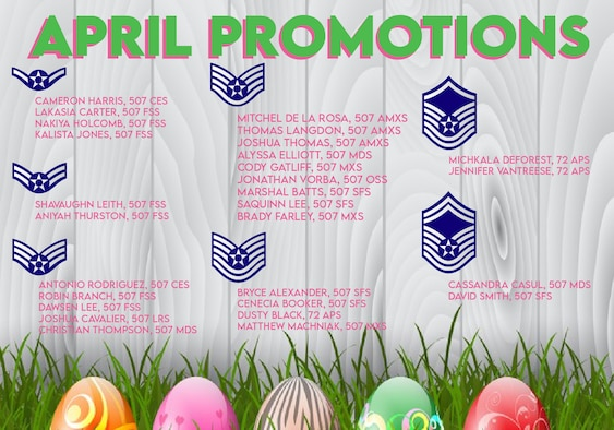 The April nlisted Promotions graphic from the 507th Air Refueling Wing at Tinker Air Force Base, Oklahoma. (U.S. Air Force graphic by Senior Airman Mary Begy)