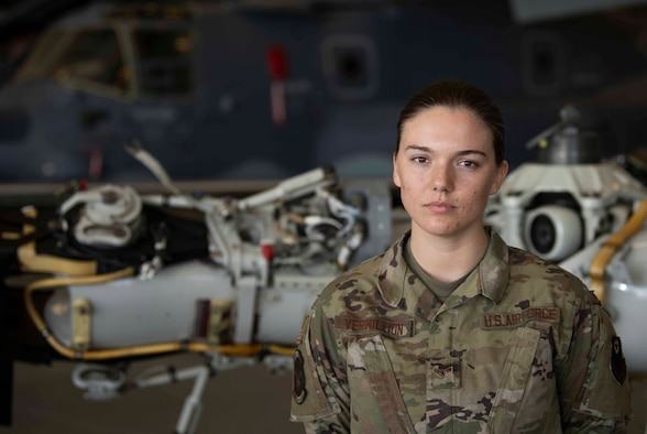 U.S. Air Force Tech. Sgt. Ashley Trim, a unit training manager with the U.S. Air Force Special Operations School and founder of the Women of Maintenance committee, poses for a photo at Hurlburt Field, Florida, Mar. 15, 2021.