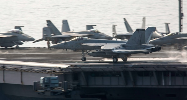 A U.S. Navy F/A-18 Super Hornet, assigned to Strike Fighter Squadron (VFA) 31, takes off from the aircraft carrier USS Theodore Roosevelt (CVN 71).