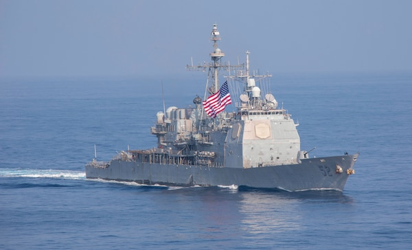 The guided-missile cruiser USS Bunker Hill (CG 52) transits the South China Sea.