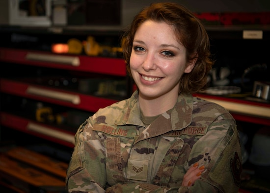 U.S. Air Force Senior Airman Rachael Rolling, an aircraft armament systems team member with the 1st Special Operations Munitions Squadron, poses for a portrait at Hurlburt Field, Florida, Mar. 23, 2021.