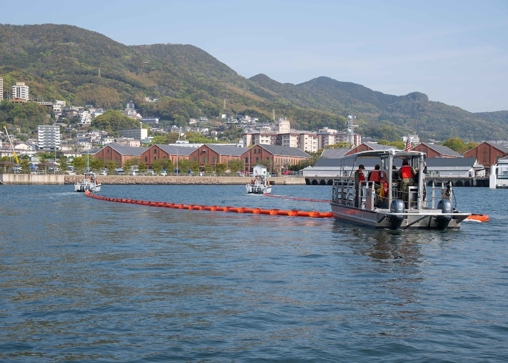 Sailors assigned to Commander, Fleet Activities Sasebo Port Operations conduct facility response training onboard CFAS April 9, 2021.