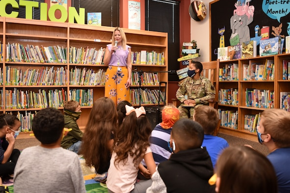 Glenmore Elementary Principal, Teri Gould, introduces U.S. Air Force Col. Lauren Byrd, 17th Medical Group commander, to a class of second-grade students in San Angelo, Texas, April 7, 2021. Byrd was invited by San Angelo Independent School District to read a book in celebration of San Angelo READS! and Month of the Military Child. (U.S. Air Force photo by Senior Airman Abbey Rieves)
