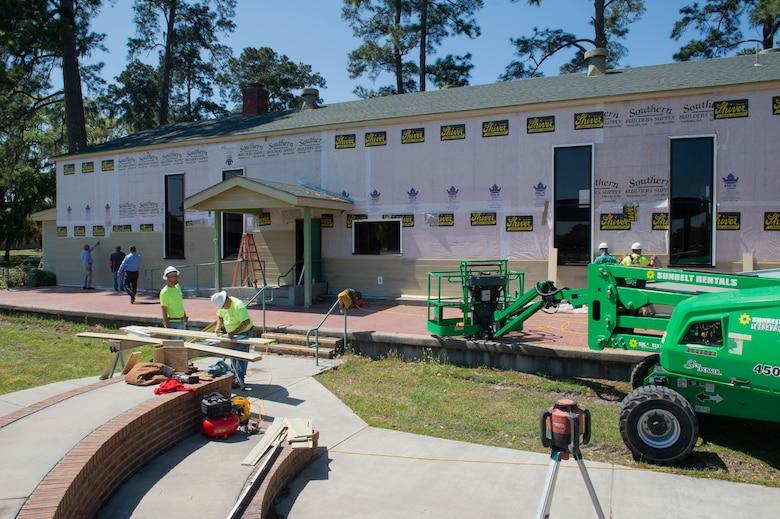 Photo of contractors refurbishing Heritage Hall