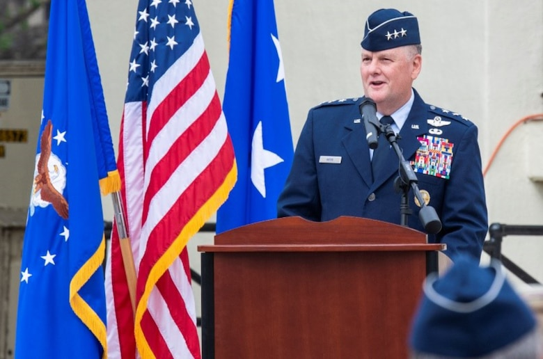 Lt. Gen. Brad Webb, commander of Air Education and Training Command, gives remarks during the Wilson Hall dedication ceremony at Joint Base San Antonio-Randolph April 9.